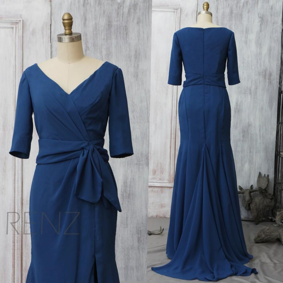 2016 Midnight Blue Bridesmaid Dress With A Train, V Neck ...