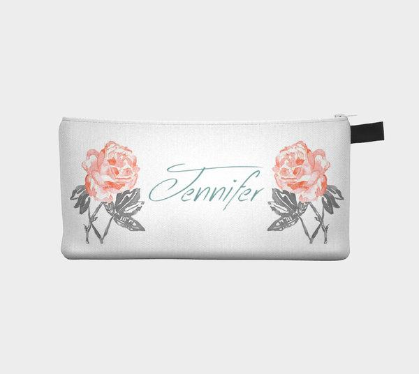 Mariage - Personalized Bridesmaids Grey & Rose - Cosmetic Pouch Pencil Case Brides Maids Gift Zip Pouch Pouch Makeup Storage Case