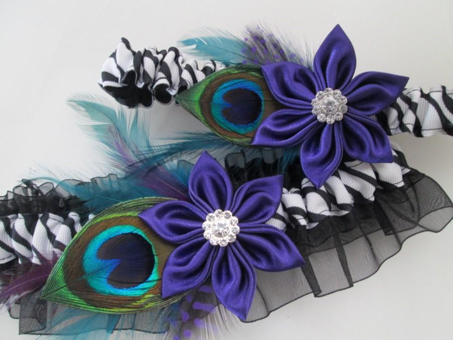 Hochzeit - Zebra WEDDING or PROM Garters, Purple Prom Garters, Peacock Garters, Peacock, Teal and Purple Garters, Dance Costume, Zoo Wedding