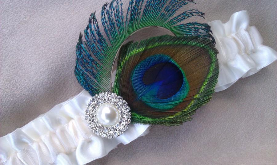 Wedding - Peacock Feather Garter Ivory Rhinestone Pearl Accented Bridal Wedding