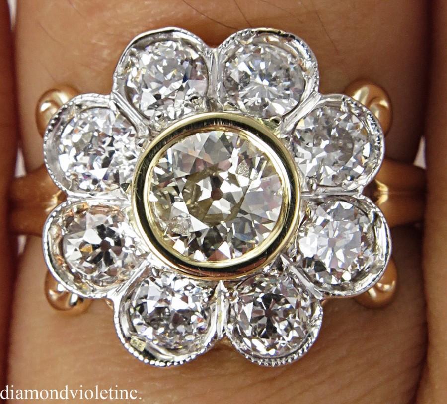 Mariage - 1.62ct Antique Vintage Edwardian Old European Diamond Cluster Engagement Wedding 14k Yellow Gold Ring EGL USA