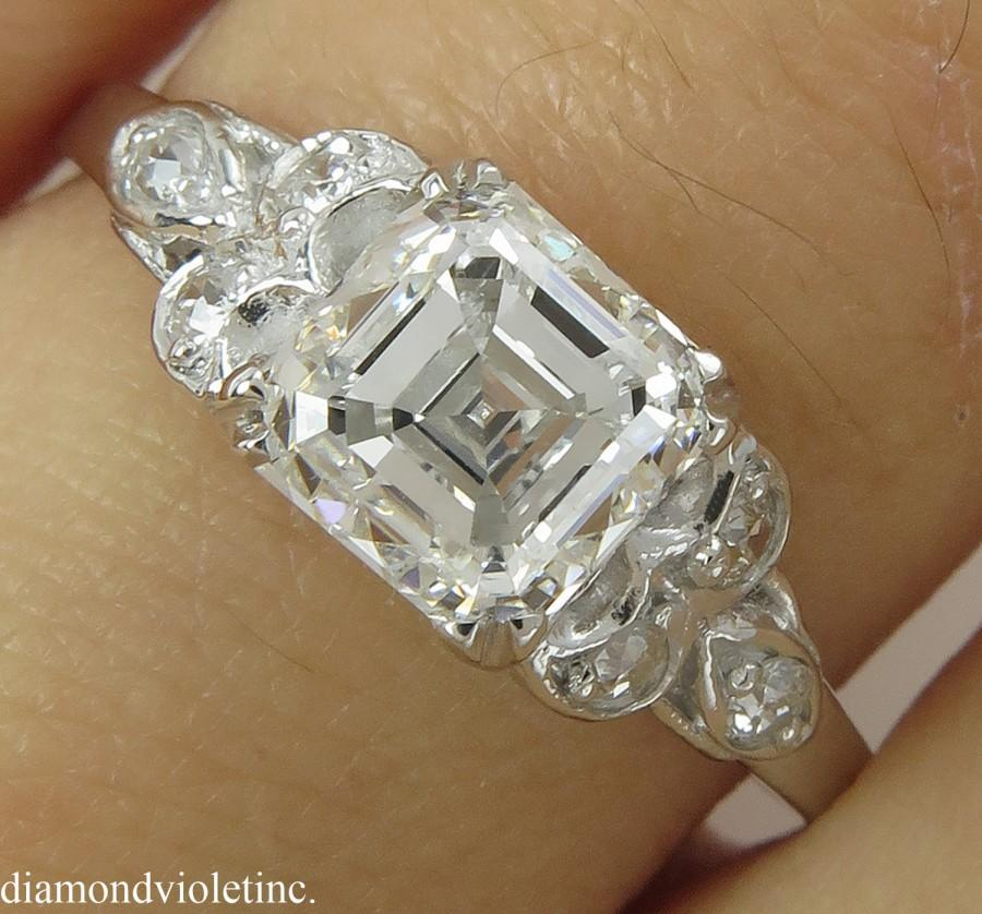 Mariage - GIA 1.46ct Antique Vintage Art Deco Asscher Diamond Engagement Wedding Platinum Ring