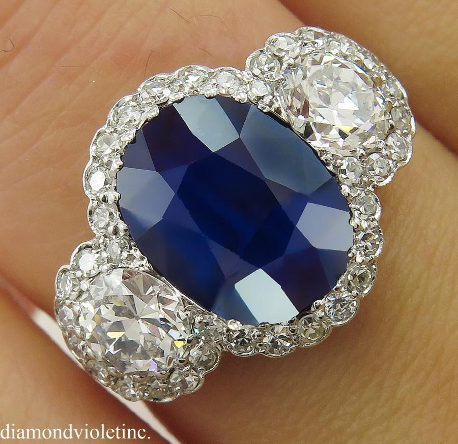 Mariage - AGL 3.54ct Antique Vintage Art Deco NO HEAT Blue Sapphire Diamond Three Stone Engagement Wedding Platinum Ring