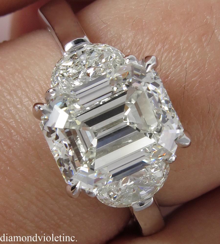Mariage - 4.01ct Estate Vintage Emerald Diamond 3 Stone Engagement Wedding Platinum Ring EGL USA