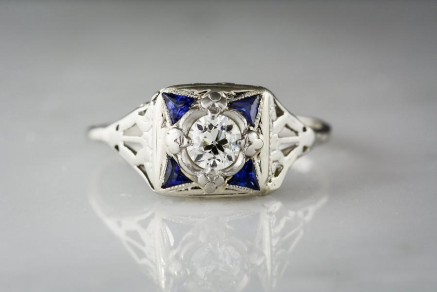 Mariage - Antique .40 Carat Old European Cut Diamond in c. 1930 Art Deco Engagement Ring with .25 ctw Sapphire Accents RPO668