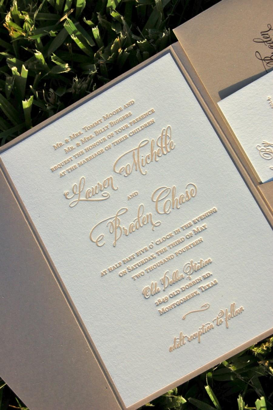 Fawn And Champagne Wedding Invitation, Letterpress Wedding Invitations,  Calligraphy Monogram Wedding Invitation