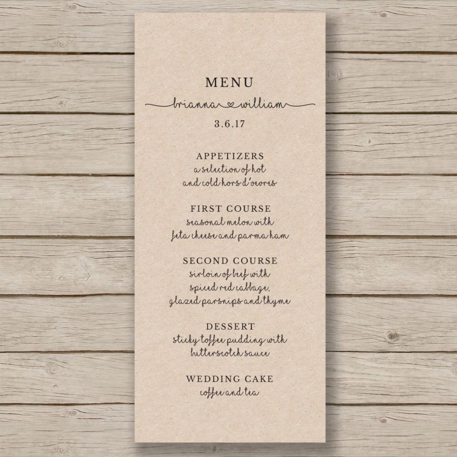 Rustic Wedding Menu Template Printable Wedding Menu