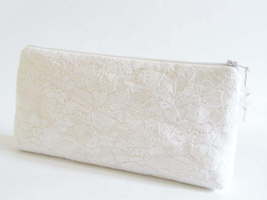 Mariage - Snow White Clutch for Bride, White Lace Wedding Clutch, Bridesmaid Clutch Handbag