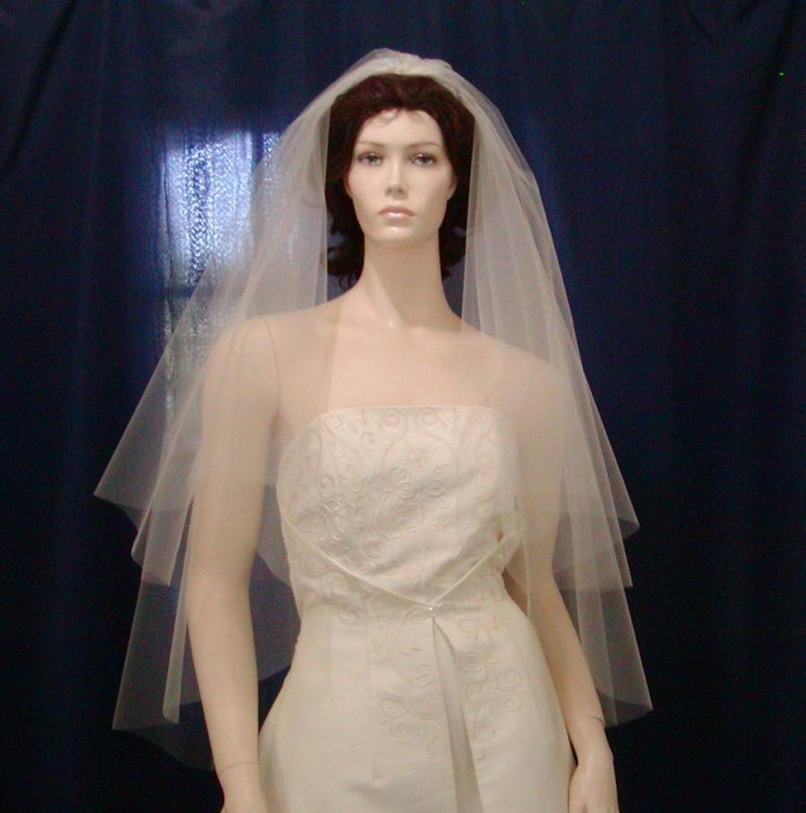 Mariage - 2 Tier fingertip length  Circle Cut Bridal Veil featuring a sheer plain cut edge