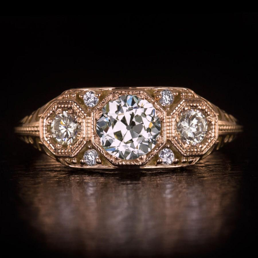 Vintage 1 Carat Old European Cut Diamond Engagement Ring 3 Stone 14k Rose  Gold Eglusa Certified Art Deco Filigree Cocktail Statement 8623