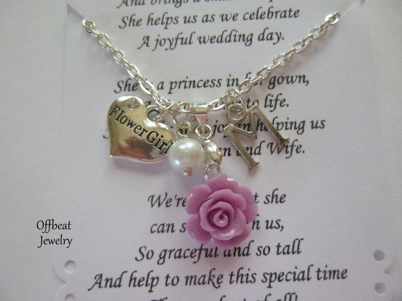 Wedding - Flower Girl Necklace, Jr. Bridesmaid Necklace, Sister Necklace, Choose a Charm, Bridesmaid Jewelry, Aunt Charm & Rose Necklace