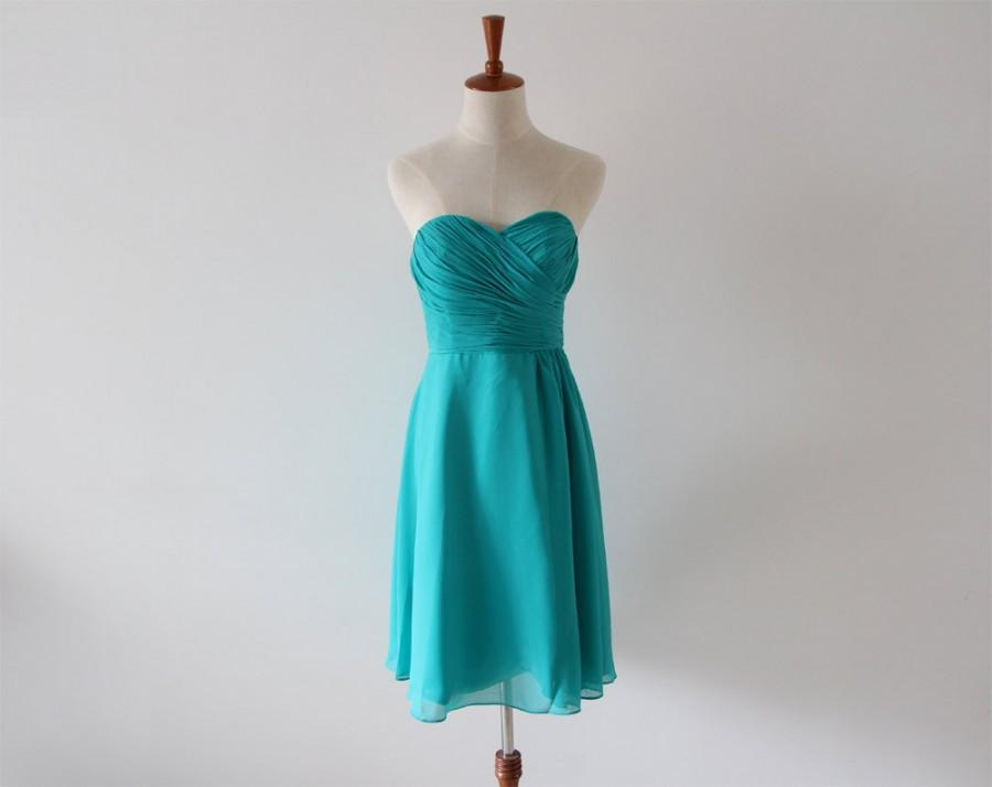 Hochzeit - Teal Knee-length Strapless Bridesmaid Dress Short Teal Chiffon Bridesmaid Dress-Custom Dress