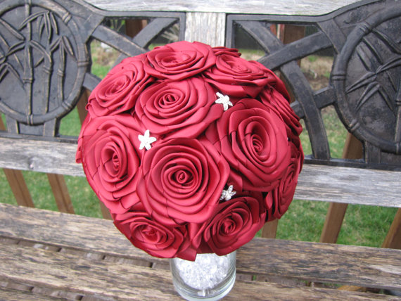 Mariage - Bride bouquet wedding bouquet fabric bouquet fabric flower marriage bridal bouquet satin ribbon bouquet red bouquet burgundy bouquet