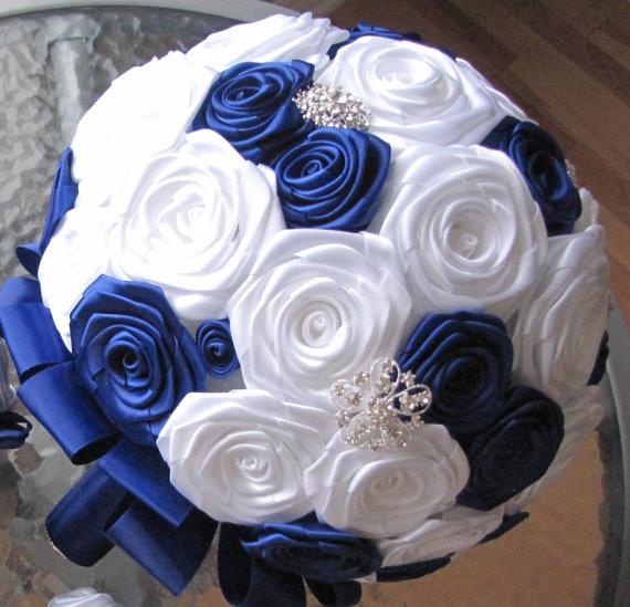 Hochzeit - Custom bride bouquet fabric flower fabric bouquet customize bouquet bridal boutonniere bridal bouquet satin ribbon bouquet