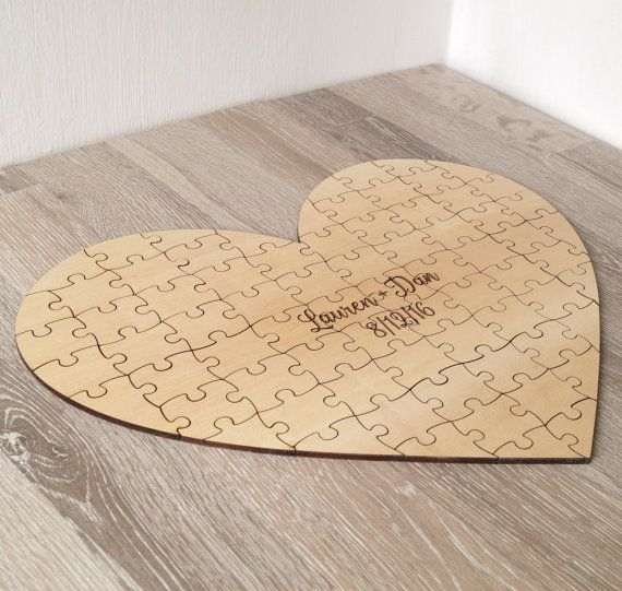 Wedding - Wedding Guest Book Puzzle, Guest Book Alternative, Custom Heart Puzzle, Personalized Rustic Wedding Guest Book