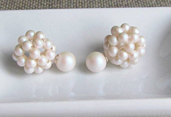 Wedding - Double sided earring white jacket two in one earring double stud earring cluster double pearl earring front back earring two sided earring