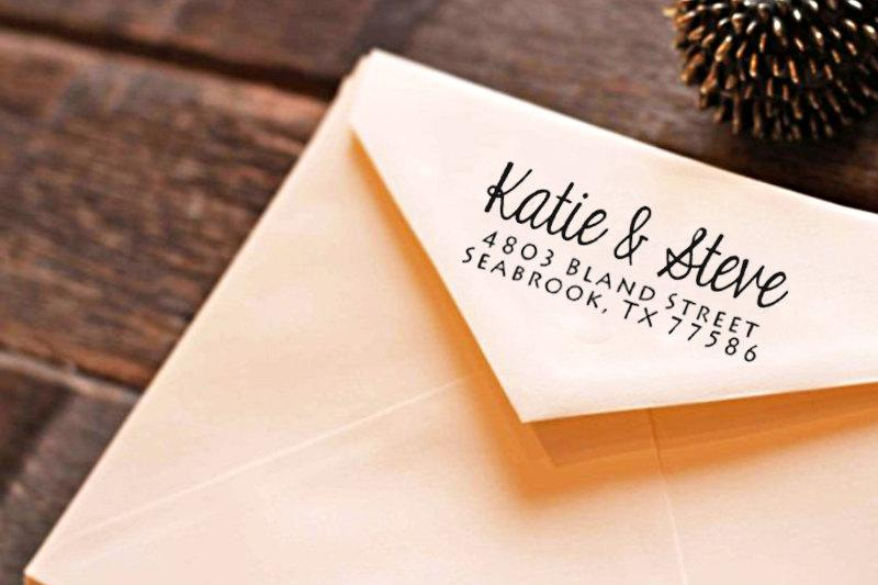 Return Address Stamp Modern Calligraphy Wedding Personalised Self Ink