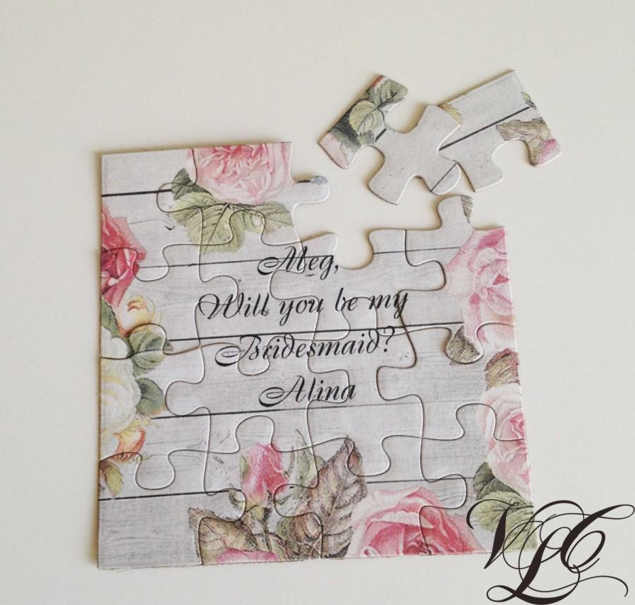 Rustic Personalized Bridesmaid Proposal Flower Girl Will You Be My Puzzle Ask