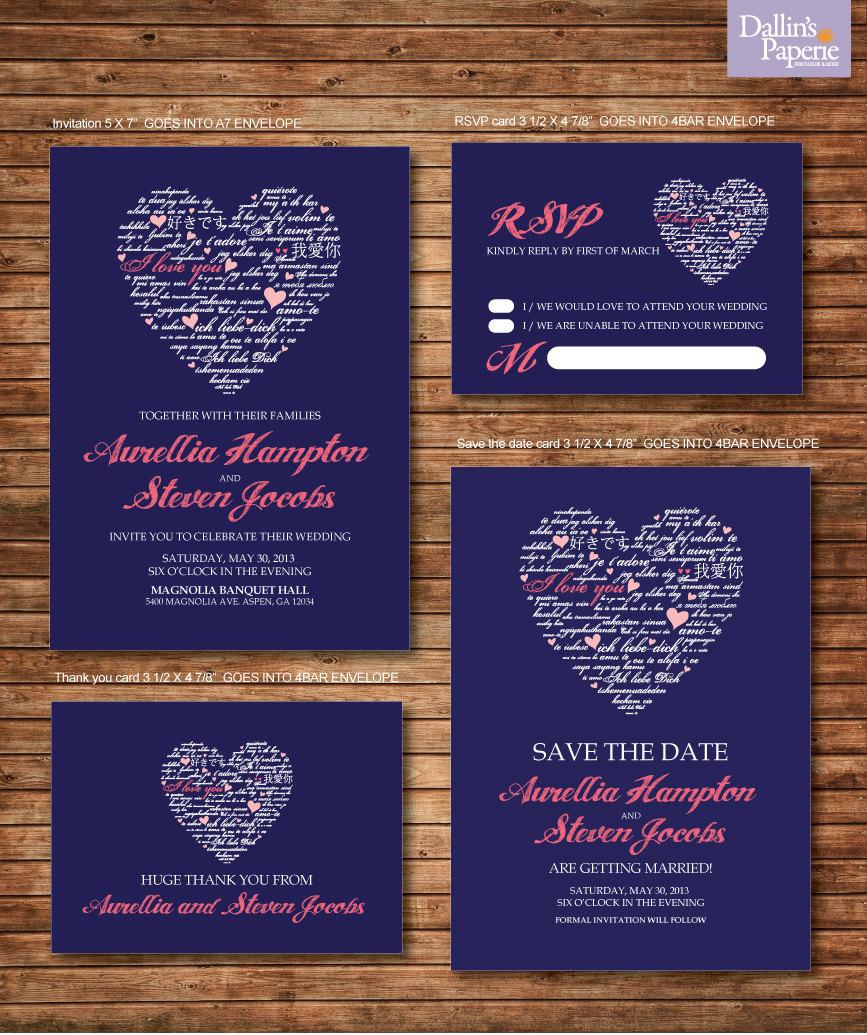Wedding Invitation Printables Coral And Navy Blue Heart