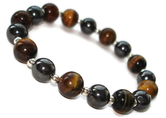 Mens Beaded Bracelet Jewelry Boyfriend Birthday Gift For Him Tiger Eye Men Energy Hemae Mala