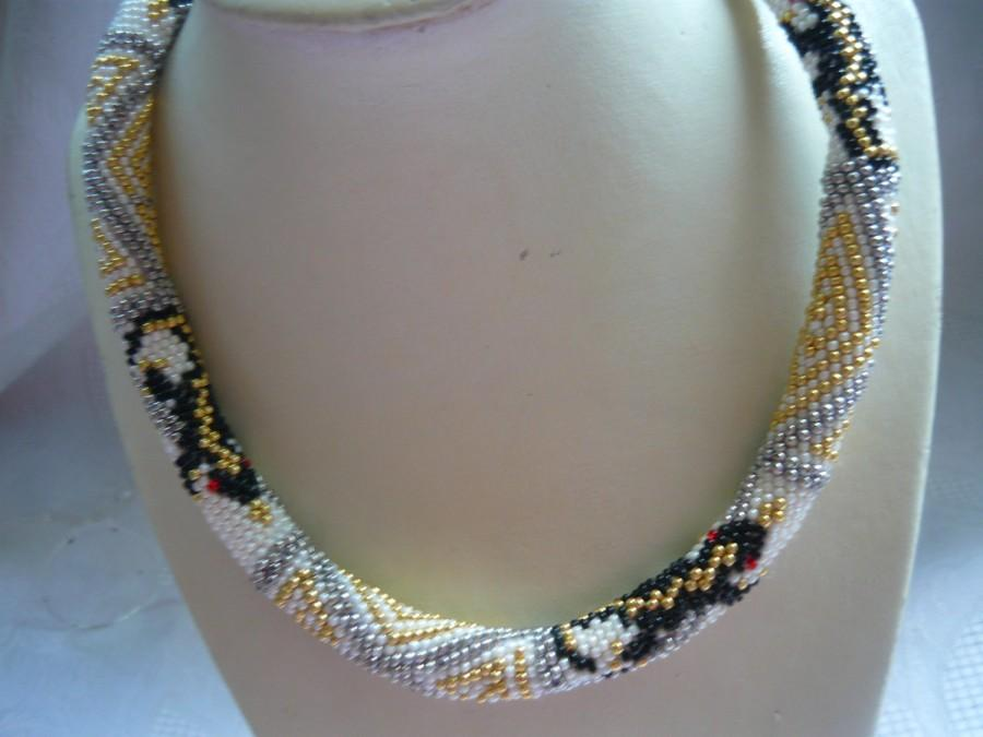 White Jewelry Statement Seed Bead Necklace With Salamander ...