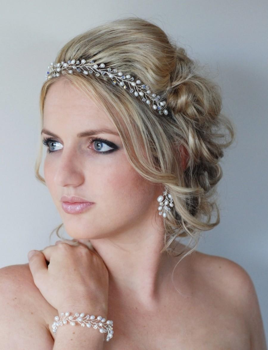 Hochzeit - Wedding Hair Accessories, Freshwater Pearl and Swarovski Crystal Hair Crown,Pearl and crystal Bridal Wreath, Pearl and crystal Wedding Halo