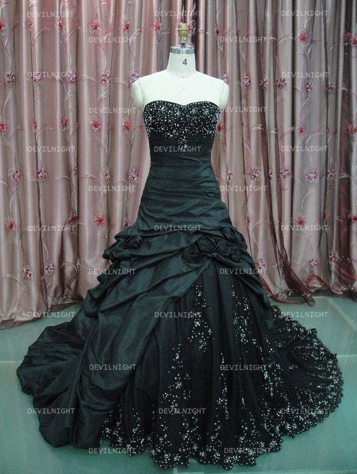 Wedding - Black Beading A-Line Gothic Wedding Dress