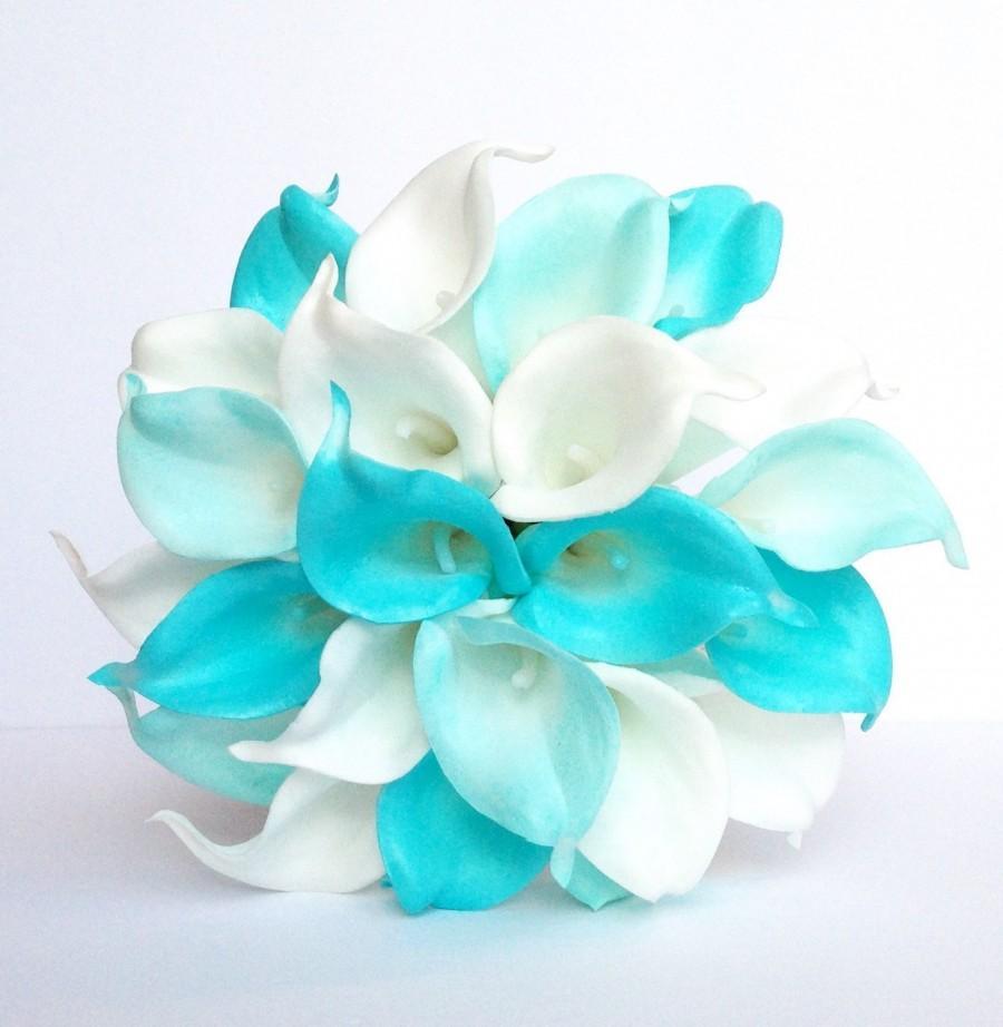Wedding - Turquoise Wedding Bouquet , Calla Lily Wedding Bouquet, Turquoise and White Bridal Bouquet