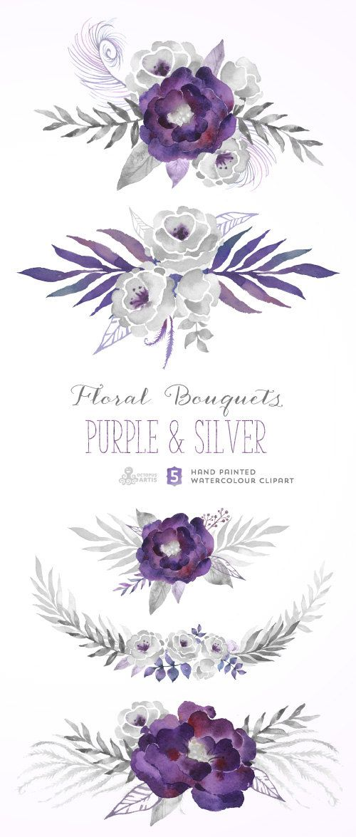 0efdee95fa958 Purple & Silver Floral Bouquets. Digital Clipart. Hand Painted ...