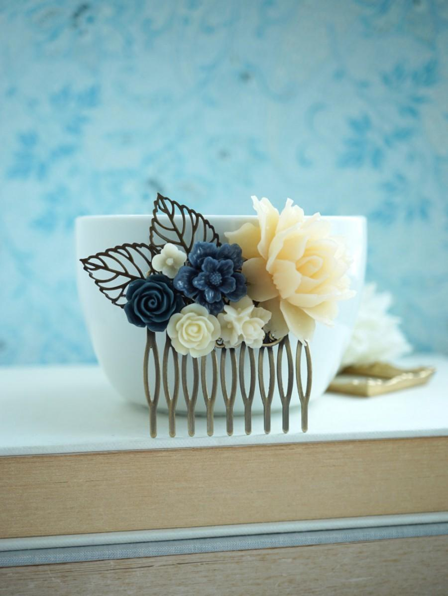 Mariage - Navy Blue Comb, Something Blue, Ivory Rose Leaf, Dark Blue Comb, Unique Flower Comb. Fall Rustic Wedding. Prom Graduation, Navy Blue Wedding