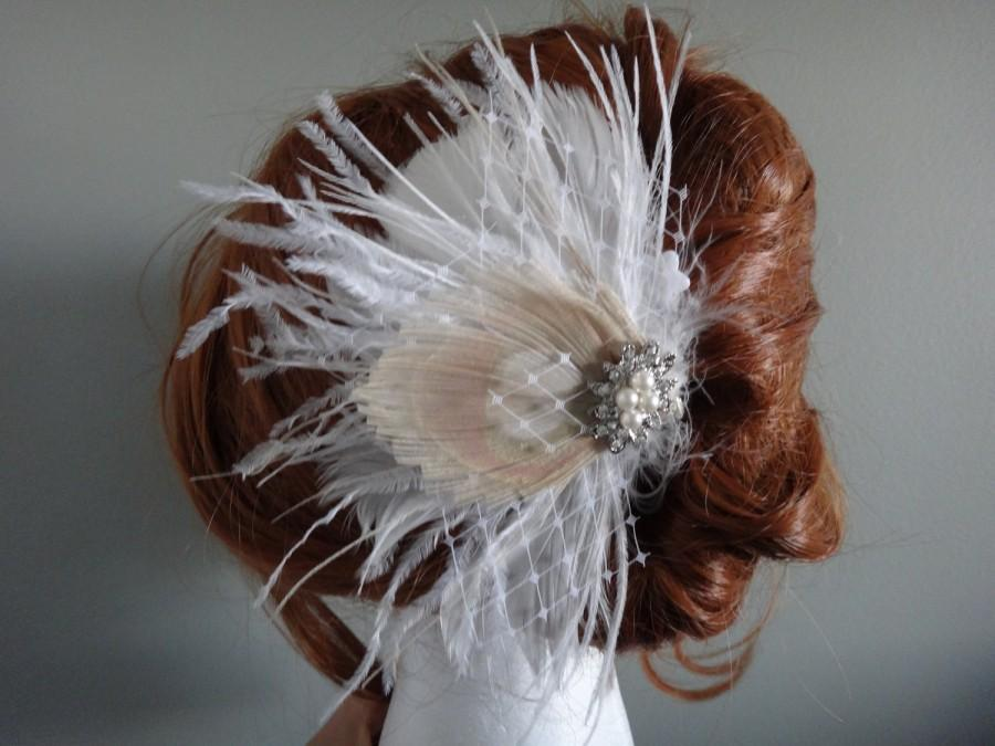 Mariage - Bridal Ivory, white feather hair piece, champagne peacock feather, pearl rhinestone