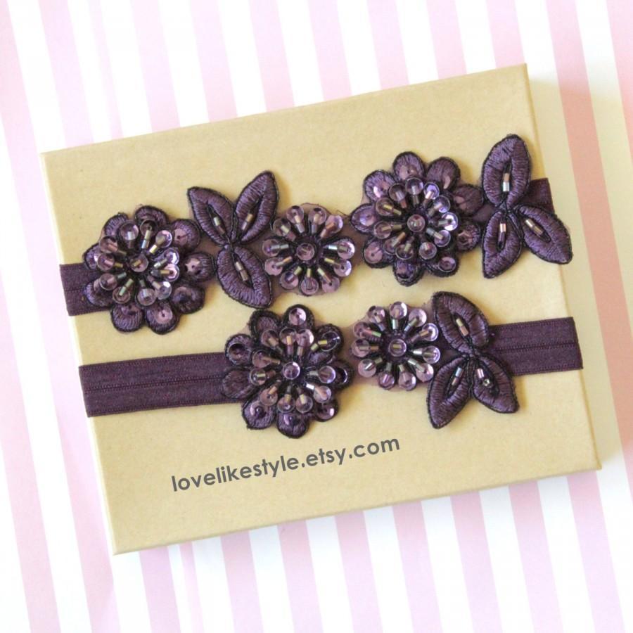 Mariage - Plum, Dark Purple Beaded Flower Lace Wedding Garter Set, Plum Lace Garter Set, Toss Garter , Keepsake Garter / GT-30
