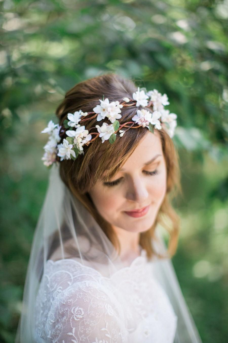 Wedding ideas flower crown 3 weddbook bridal headpiece bridal flower crown flower crown headband ivory flower crown pink flower crown floral crown wedding woodland 88 dhlflorist Images