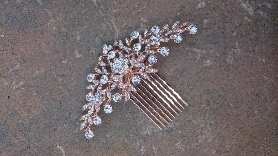 Mariage - Rose Gold Bridal Comb, Silver Bridal Comb, Crystal Bridal Hair Comb, Floral Comb, Rhinestone Comb, bridal, wedding, Rose Gold, Leaves, Leaf