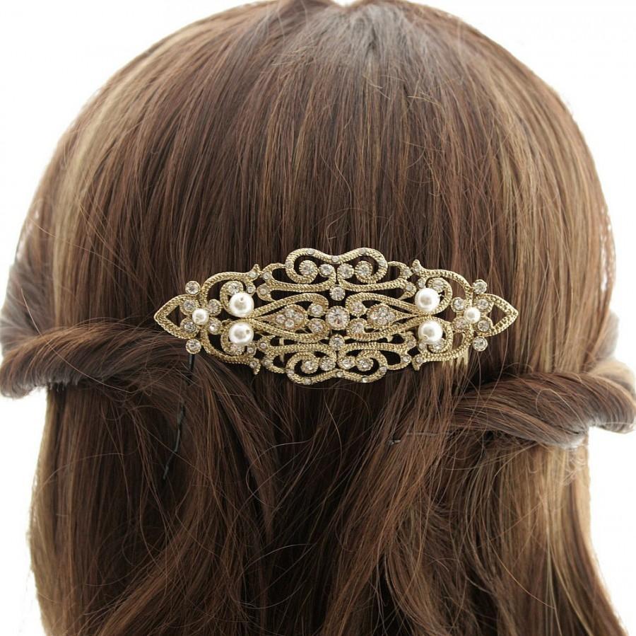 Mariage - Bridal Hair Comb Gold Art Deco Hair Comb Wedding Accessories Gold Hair Piece Swarovski Pearl Bridal Headpiece