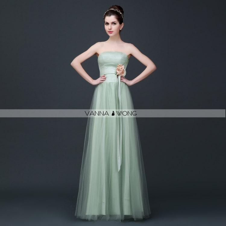 Fruit Green Light Green Strapless Simple Lace Up Tulle Satin Hand ...