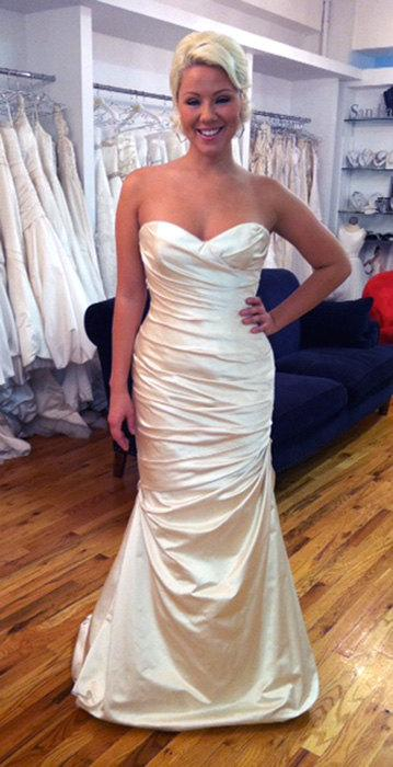 Blush Duchess Silk Satin Wedding Dress Low Back SAMPLE SALE ...