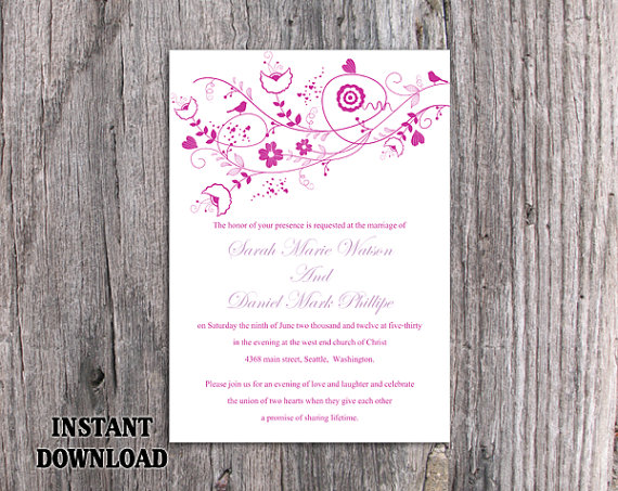 Mariage - DIY Wedding Invitation Template Editable Word File Instant Download Floral Invitation Bird Invitation Printable Purple Invitations