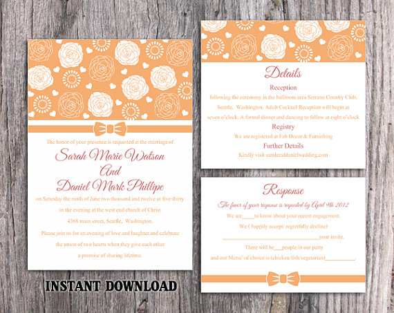 Wedding - DIY Wedding Invitation Template Set Editable Word File Instant Download Printable Orange Wedding Invitation Floral Rose Wedding Invitation