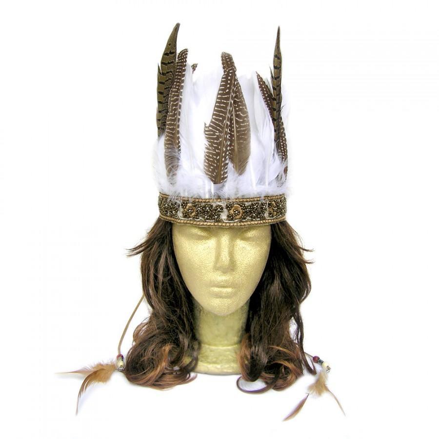 Hochzeit - Feather Headdress, Boho Bridal Headpiece, Feather Wedding Hairpiece, Costume Headdress, Bohemian Bridal Headpiece, Feather Crown