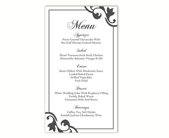 Hochzeit - Wedding Menu Template DIY Menu Card Template Editable Text Word File Instant Download Black Menu Template Printable Menu 4x7inch