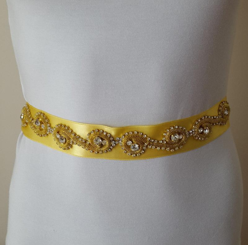 Hochzeit - rhinestone,silver,satin wedding belt,yellow,,organza rose, bridal belt, wedding dress belt,Wing, Long Waist Wedding,free shipping!
