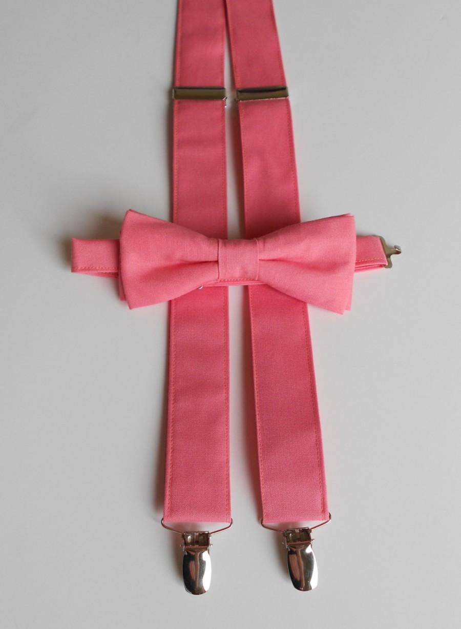 Hochzeit - Coral Bowtie and Suspenders Set- Men's, Youth 2 weeks before shipping