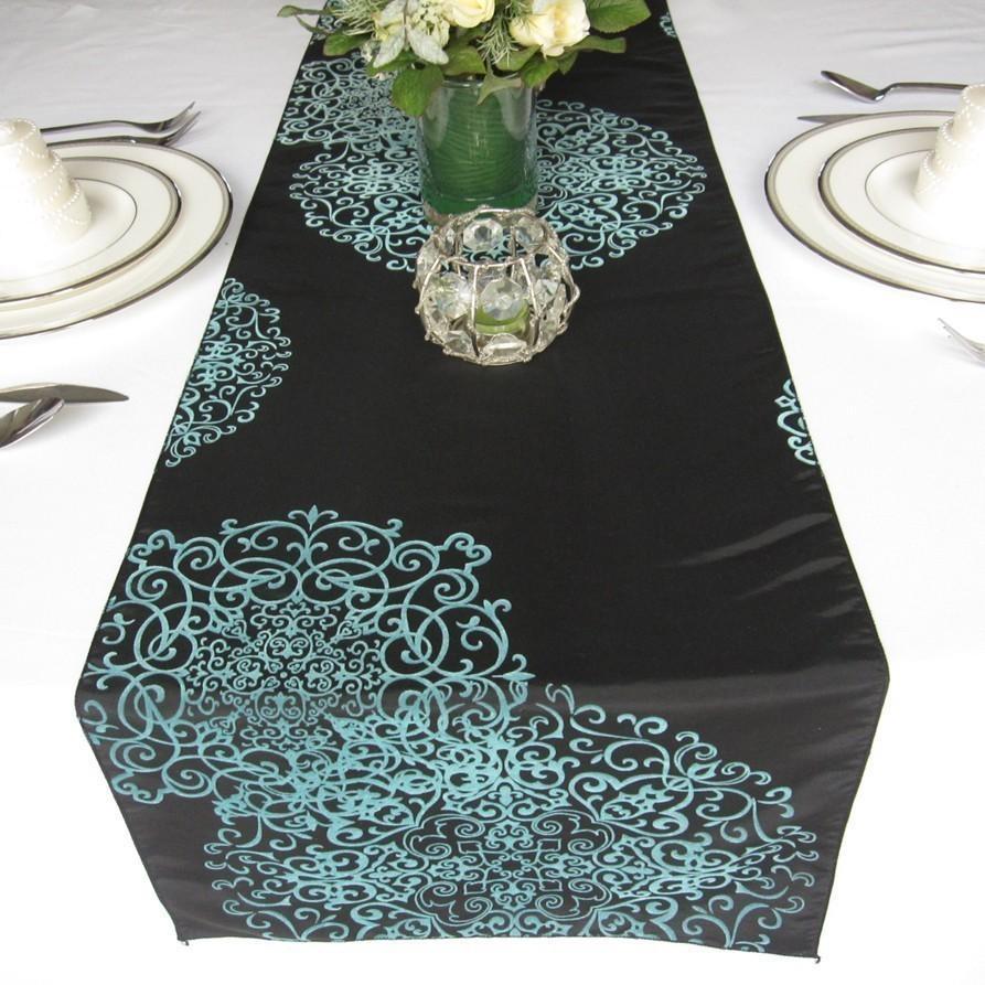 Mariage - Black Aqua Swirly Love Flocked Damask Table Runner Taffeta Wedding Table Runner