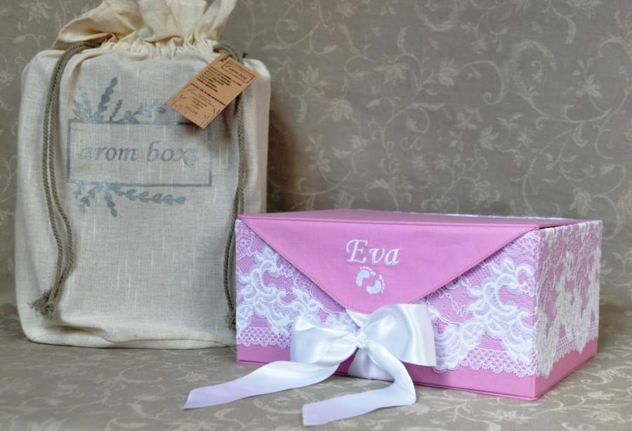 Beau Christening Gift Baby Box Name Embroidery Personalized Lace Fabric Box  Baptism Gift Embroidered Name Storage Box Card Box Lavender Scent