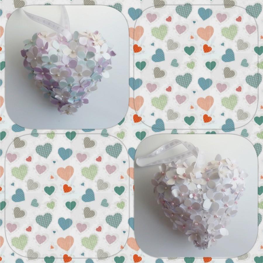 Nozze - Paper hydrangea heart,  paper hydrangea, flowergirl accessory, wedding accessories, wedding decor, pew decoration, aisle decoration