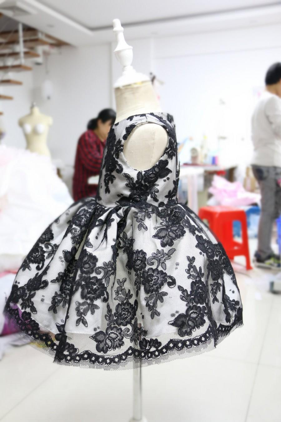 Baby Pageant Dress With Special Black Flower Lace Birthday For Toddlers Newborn Party PD083 2