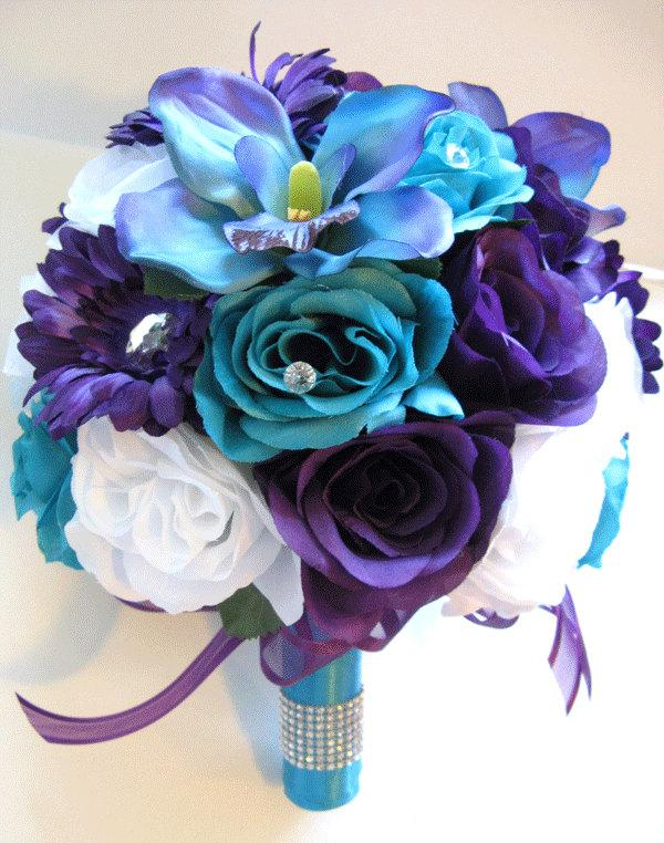 "Wedding - Wedding Silk flowers Bouquet Bridal PURPLE Daisy TURQUOISE Blue ORCHID 17 Piece package Artificial flower centerpieces ""RosesandDreams"""