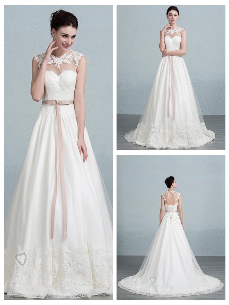 Illusion Neckline Lace Appliques A Line Wedding Dress With Keyhole Back