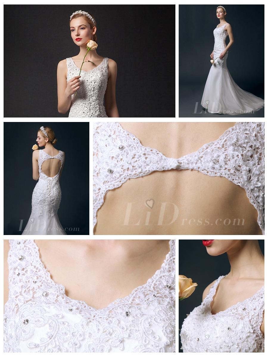 Hochzeit - Beaded V-neck Mermaid Wedding Dress with Keyhole Back